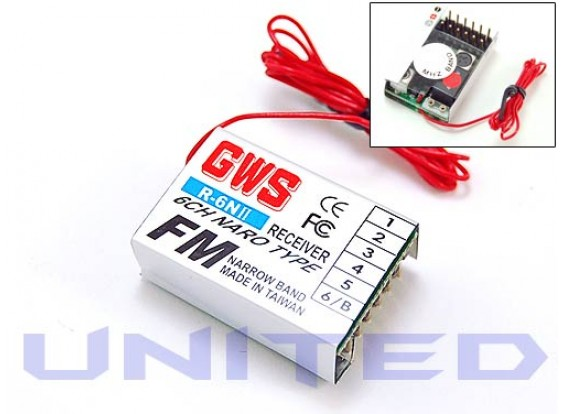 GWS R6 NII 6CH FMナロレシーバ35MHzの