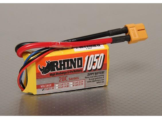 Rhinoの1050mah 2S 7.4V 20CをLipolyパック