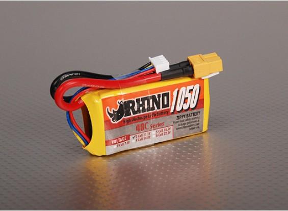 Rhinoの1050mAh 3S 11.1V 40C Lipolyパック