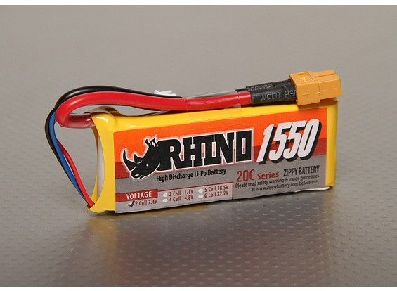 Rhinoの1550mAh 2S 7.4V 20CをLipolyパック