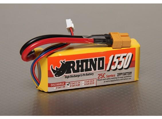 Rhinoの1550mAh 3S1P 25C Lipolyパック