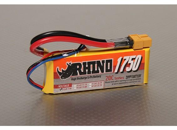 Rhinoの1750mAh 2S 7.4V 20CをLipolyパック