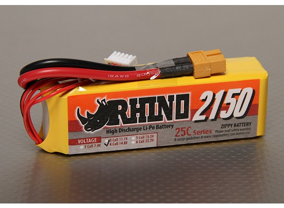 Rhinoの2150mAh 4S 14.8V 25C Lipolyパック