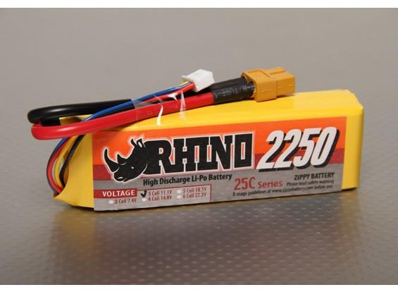 Rhinoの2250mAh 3S 11.1V 25C Lipolyパック
