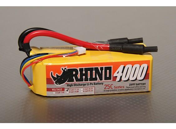 Rhinoの4000mAh 3S2P 25C Lipolyパック