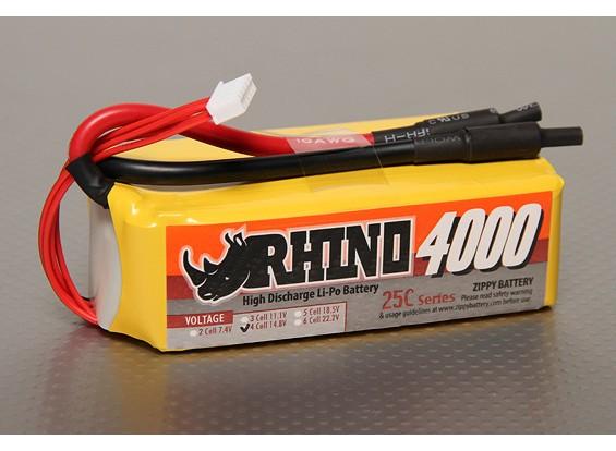 Rhinoの4000mAh 4S2P 25C Lipolyパック