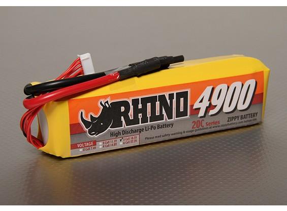 Rhinoの4900mAh 5S1P 20C Lipolyパック