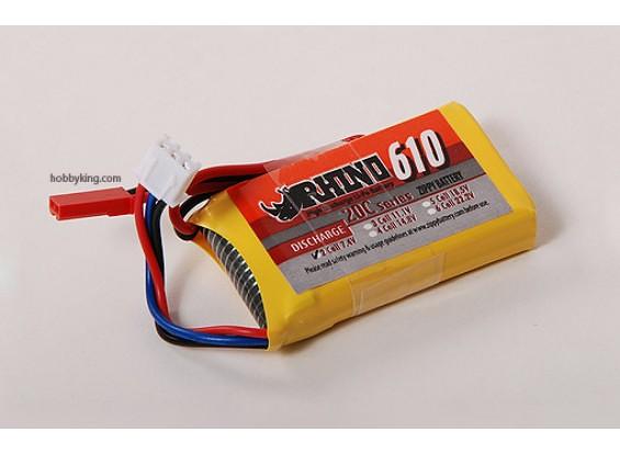 Rhinoの610mAh 2S 7.4V 20CをLipolyパック