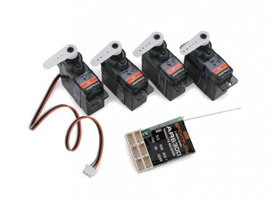 AR6300 DSM2 Nanolite 6チャンネルレシーバーFlightPack / 4サーボワット
