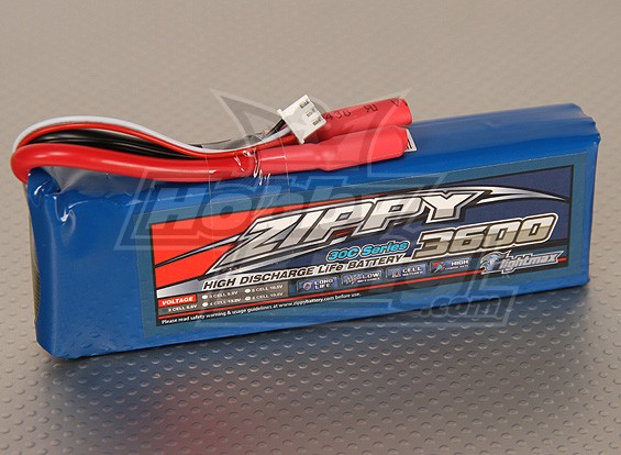 ジッピーFlightmax 3600mAh 2S2P 30CのLiFePO4パック