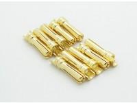 男性ゴールドメッキスプリングコネクタ4ミリメートル(10個入り/袋)