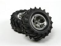 HobbyKing®™1/10クローラ&モンスタートラック125ミリメートルホイール&タイヤ(シルバーリム)(2個)
