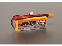 Rhinoの1250mAh 2S 7.4V 30CをLipolyパック