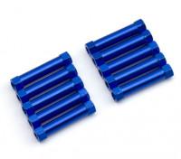 軽量アルミラウンドセクションスペーサーM3x24mm(ブルー)(10個入り)