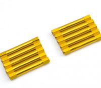 軽量アルミラウンドセクションスペーサーM3x37mm(ゴールド)(10個入り)