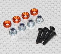 スクリューセットを取り付けカラーサーボ(オレンジ)