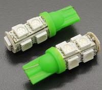 LEDコーンライト12V 1.8W(9 LED) - グリーン(2個)