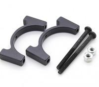 ブラックアルマイトCNCアルミチューブクランプ直径25mm