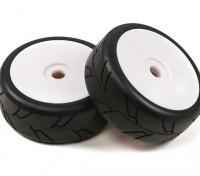 セミスリックスタイルタイヤ付1/8スケールホワイトプロディッシュホイール(2PC)