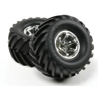 HobbyKing®™1/10クローラ&モンスタートラック135ミリメートルホイール&タイヤ(シルバーリム)(2個)
