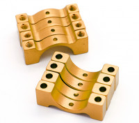 ゴールドアルマイトCNC半円合金管クランプ(incl.screws)12ミリメートル