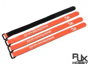 RJX Ultra-Grip Silicone Velcro Battery Straps Orange (300X20mmx4pcs)