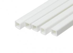 ABS Square Tube 4.0mm x 4.0mm x 500mm White (Qty 5)