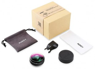 Aukey Optic Pro Super Wide Angle 0.2X 238° Clip On Smartphone Lens Set(contents)