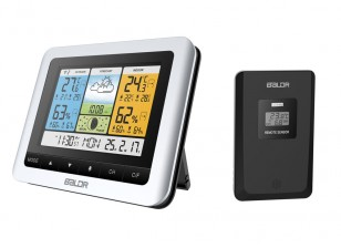 BALDR B0316 Color Weather Station with Forecast Hygrometer Thermometer Clock Outdoor Sensor (Eu Plug)