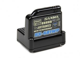 内蔵アンテナとサンワRX-481WP 2.4GHzのFH3 / FH4Tスーパーレスポンス4CH受信機