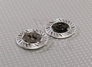 1/10ブレーキディスクホイールアダプタ12ミリメートル六角(チタニウムフィニッシュ -  2PC)
