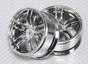 1:10スケールホイールセット(2個)クロームスプリット5スポークRCカー26ミリメートル(3ミリメートルオフセット)