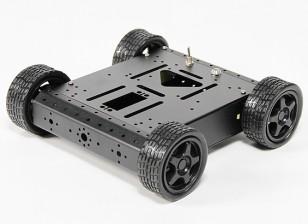 アルミ4WDロボットシャーシ - ブラック(KIT)