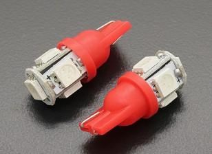 LEDコーンライト12V 1.0W(5 LED) - レッド(2個)