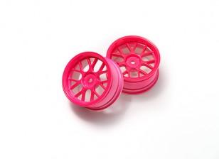 1時10ホイールセット 'Y' 7スポーク蛍光ピンク(3ミリメートルオフセット)