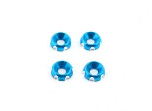 アルミ3ミリメートルCNC皿ワッシャ - ブルー(4個入)