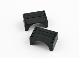 ブラックアルマイトダブルクランプ直径25mm CNCアルミチューブを両面