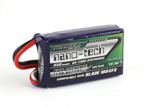 Turnigyナノテクノロジー450mAh 3S 65Cリポ(E-FLITE互換性のあるブレード180CFX EFLB4503SJ30)