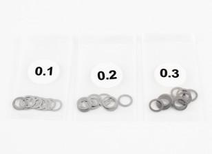 ステンレス鋼の5ミリメートルシムスペーサー0.1 / 0.2 / 0.3(10個入り各) -  3Racing SAKURA FF 2014