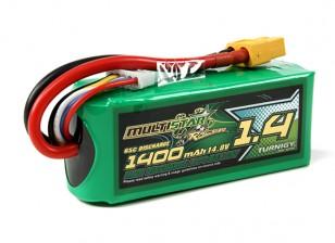 MultiStarレーサーシリーズ1400mAhです4S 65Cマルチローターリポパック(ゴールド仕様)