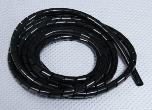 スパイラルラップチューブID 9ミリメートル/ ODさ10mm(黒 -  2メートル)