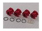 レッドアルマイトアルミホイールストッパナットと1/8ホイールアダプター(17ミリメートルの六角 -  4PC)