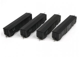P64K Box Car (Ho Scale - 4 Pack) Black Set 2 x 4