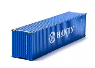 HO Scale 40ft Shipping Container (HANJIN) front view