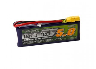 Turnigy nano-tech 5000mAh 2S 25~50C Lipo Pack w/XT-90