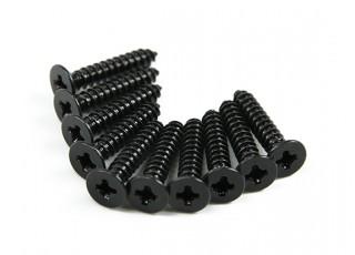 Screw Flat Head Phillips M2.6x14mm Self Tapping Steel Black (10pcs)