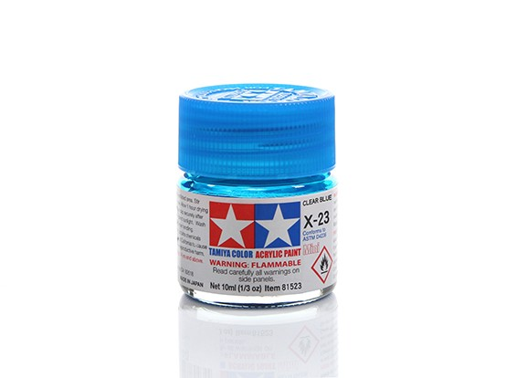 Tamiya X-23 Clear Blue Mini Acrylic Paint (10ml)