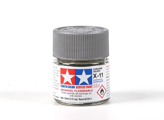 Tamiya X-11 Chrome Silver Acrylic Paint (10ml)