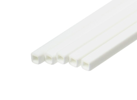 ABS Square Tube 3.0mm x 3.0mm x 500mm White (Qty 5)