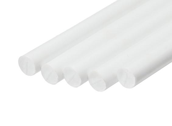 ABS Round Rod 8.0mm x 500mm White (Qty 5)